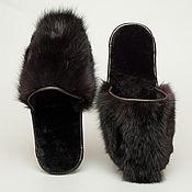 Обувь ручной работы. Ярмарка Мастеров - ручная работа Домашние меховые тапочки из норки. Handmade.