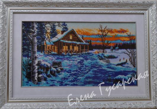 """Пейзаж ручной работы. Ярмарка Мастеров - ручная работа. Купить """"Зимний вечер"""". Handmade. Комбинированный, Вышивка бисером, зимний пейзаж"""