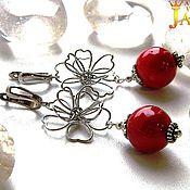 Украшения handmade. Livemaster - original item Silver earrings with natural spongy coral.. Handmade.