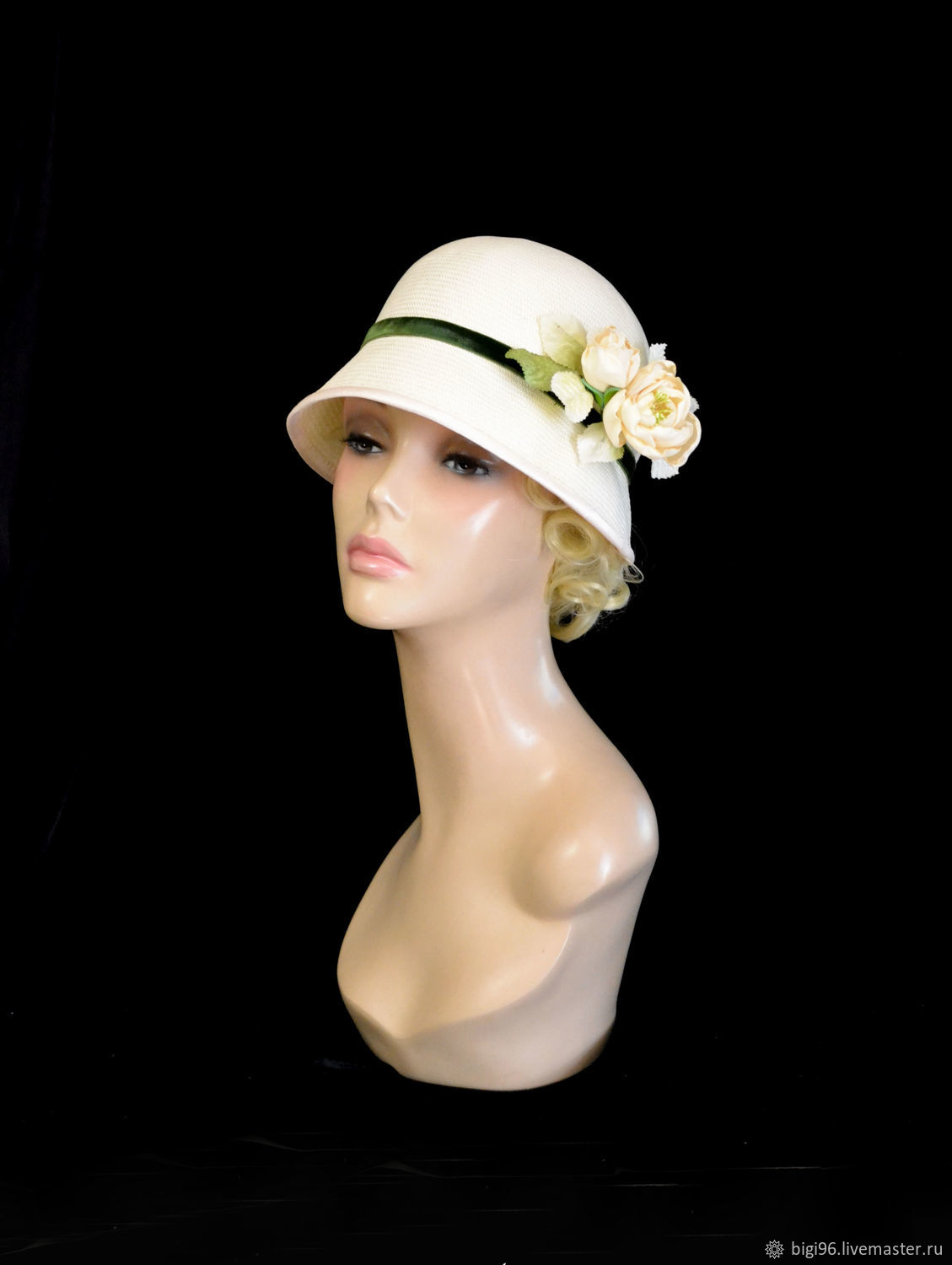 The Cloche of straw ' the White rose', Hats1, Moscow,  Фото №1