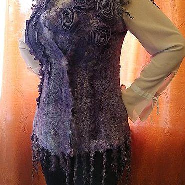 Clothing handmade. Livemaster - original item vests: Felted silk vest with sheep curls Amethyst. Handmade.