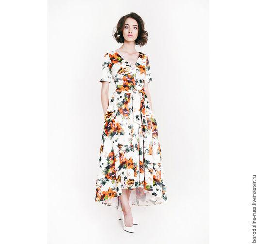 """Платья ручной работы. Ярмарка Мастеров - ручная работа. Купить Платье"""" Маковый рассвет"""". Handmade. Разноцветный, красивое платье в цветок"""