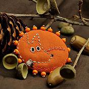 Украшения ручной работы. Ярмарка Мастеров - ручная работа Маленькая лисичка. Рыжая оранжевая брошь с ручной вышивкой.. Handmade.