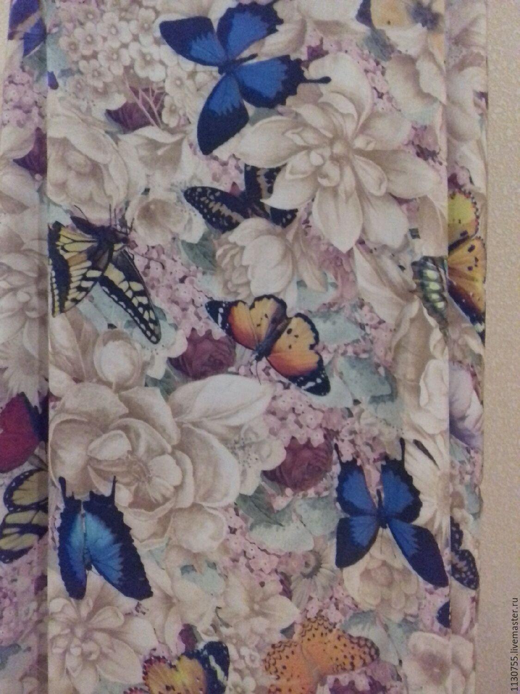Ткань штапель бабочки беж, Ткани, Москва,  Фото №1