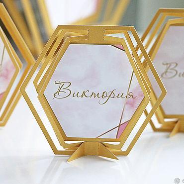 """Свадебный салон ручной работы. Ярмарка Мастеров - ручная работа """"Geometric"""" рассадочные карточки. Handmade."""