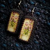 Украшения ручной работы. Ярмарка Мастеров - ручная работа Серьги с тюльпанами черные вечерние. Handmade.