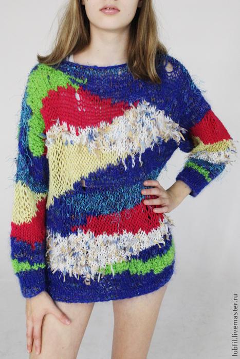 Кофты и свитера ручной работы. Ярмарка Мастеров - ручная работа. Купить Разноцветный  разгуляй.. Handmade. Пуловер вязаный, туника вязаная