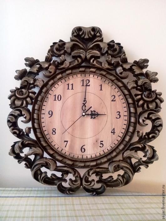 Часы для дома ручной работы. Ярмарка Мастеров - ручная работа. Купить Настенные кварцевые часы в резной буковой раме. Handmade.
