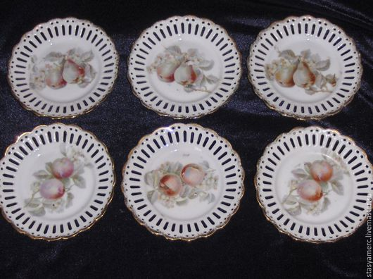 Винтажная посуда. Ярмарка Мастеров - ручная работа. Купить Комплект десертных тарелок из фарфора Фркуты   Германия. Handmade. Тарелка, фарфор
