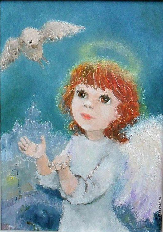 Фантазийные сюжеты ручной работы. Ярмарка Мастеров - ручная работа. Купить Картина Ангел и воробей. Handmade. Тёмно-синий, воробей