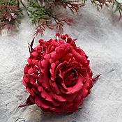 """Украшения ручной работы. Ярмарка Мастеров - ручная работа Брошь заколка """"Красная роза"""". Handmade."""