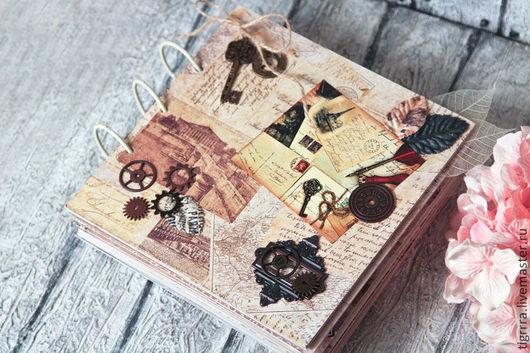 """Фотоальбомы ручной работы. Ярмарка Мастеров - ручная работа. Купить Фотоальбом """"Letter"""" (подарок мужчине, к юбилею). Handmade. Коричневый, винтажный"""