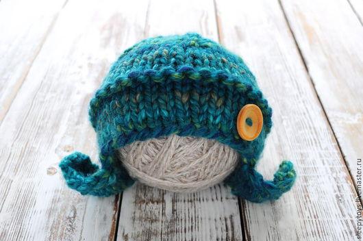 Для новорожденных, ручной работы. Ярмарка Мастеров - ручная работа. Купить Вязаная шапочка для фотосессии новорожденных. Handmade. Тёмно-бирюзовый