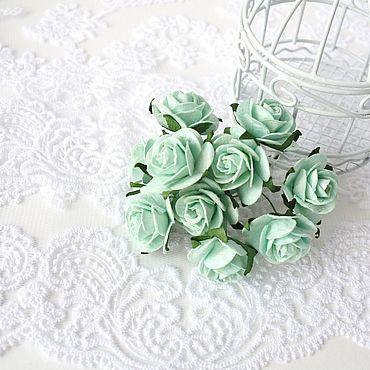 Цветы и флористика ручной работы. Ярмарка Мастеров - ручная работа Бумажные цветы Мятные 2,5 см Бумажные розы для скрапбукинга. Handmade.