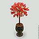 Дерево из коралла `Коралловый цвет` в вазочке из оникса