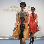 Одежда ручной работы. Ярмарка Мастеров - ручная работа Кожаное платье color block. Handmade.