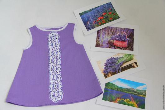 Одежда для девочек, ручной работы. Ярмарка Мастеров - ручная работа. Купить Платье для малышки Lavender Dreams. Handmade. Фиолетовый, хлопок