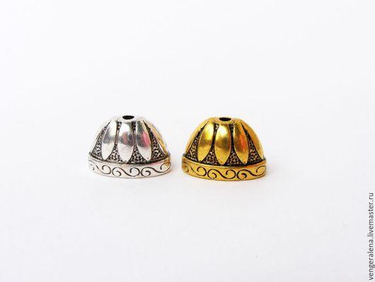 Для украшений ручной работы. Ярмарка Мастеров - ручная работа. Купить Колпачки Б17 плоские лепестки золото серебро антик. Handmade.