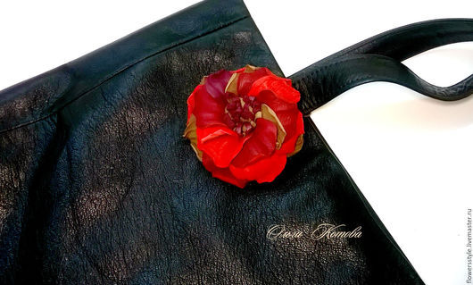 Женские сумки ручной работы. Ярмарка Мастеров - ручная работа. Купить Сумка пакет из кожи с цветком Сумка шоппер черная. Handmade.