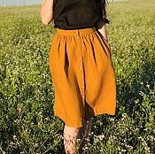 Одежда ручной работы. Ярмарка Мастеров - ручная работа Юбка льняная на пуговицах. Handmade.