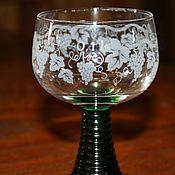 Винтаж handmade. Livemaster - original item Set of six wine glasses-remeron with grape decoration, Germany. Handmade.