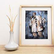 Картины и панно handmade. Livemaster - original item Pastel painting Sad clown (grey beige Pierrot). Handmade.