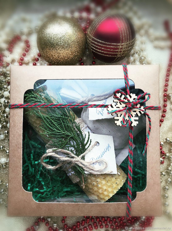 Подарочный набор со свечой и аромасаше ручной работы, Подарочные боксы, Москва,  Фото №1