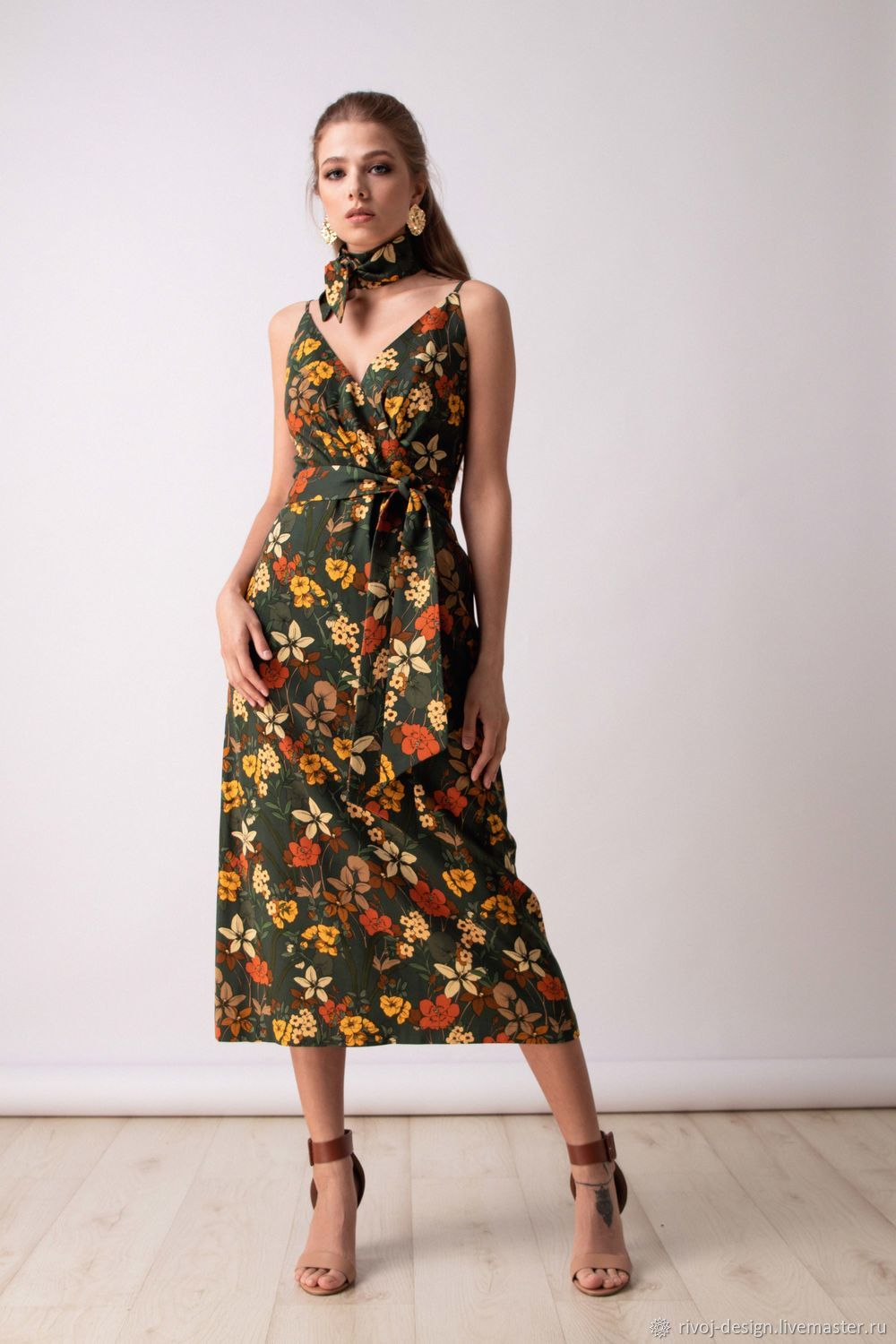 Green dress in floral print, Dresses, Moscow,  Фото №1