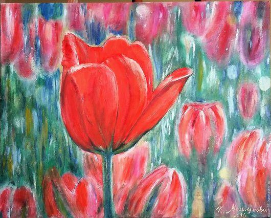 Картины цветов ручной работы. Ярмарка Мастеров - ручная работа. Купить Тюльпаны. Картина маслом. Handmade. Комбинированный, картина