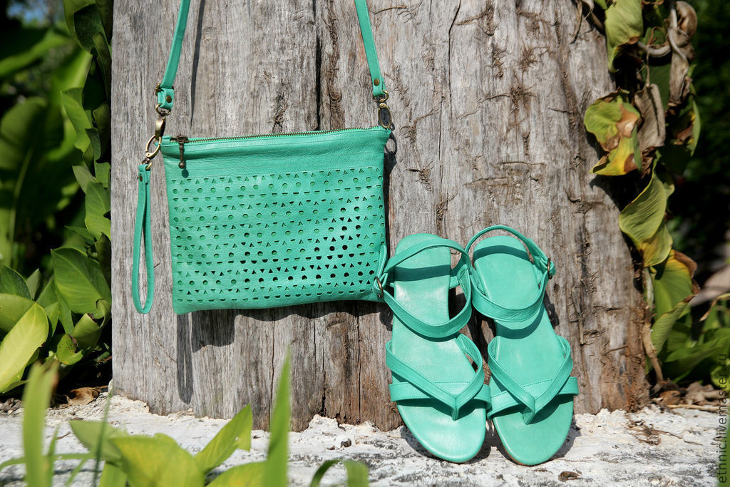 Handmade Shoes handmade. Livemaster - handmade. Buy Leather sandals Pure Mint.Gift, gift girl, gifts for women
