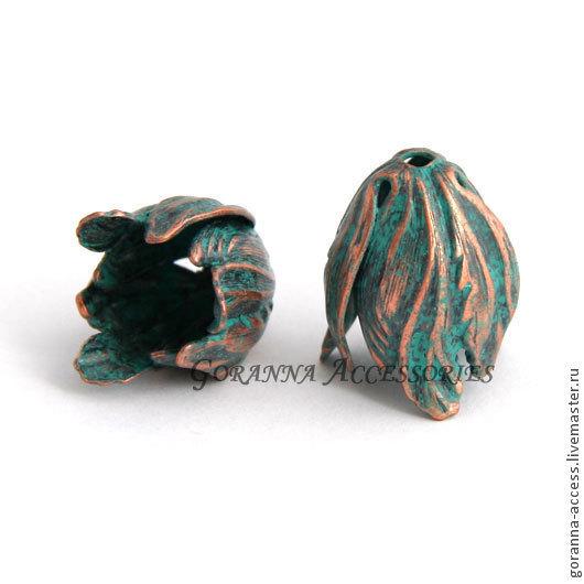 Для украшений ручной работы. Ярмарка Мастеров - ручная работа. Купить Колпачок-шапочка Тюльпан, США, окислившаяся медь. Handmade.