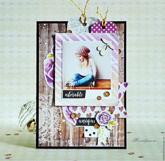 """Детские открытки ручной работы. Ярмарка Мастеров - ручная работа. Купить Открытка """"Детство в сиреневом"""". Handmade. Сиреневый, открытка для девочки"""