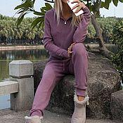 Одежда ручной работы. Ярмарка Мастеров - ручная работа Кашемировый костюм на молнии с капюшоном Фиолетовый. Handmade.