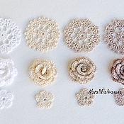 Цветы и флористика handmade. Livemaster - original item A set of knitted flowers in openwork. Handmade.