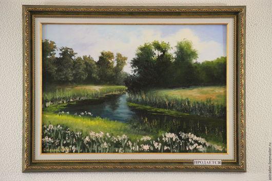 """Пейзаж ручной работы. Ярмарка Мастеров - ручная работа. Купить Картина ручной работы""""Речка в лесу"""". Handmade. Тёмно-зелёный, лес"""