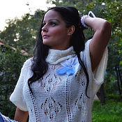 """Одежда ручной работы. Ярмарка Мастеров - ручная работа Туника вязаная  """"Эти белые цветы..."""" ручная работа белый голубой. Handmade."""