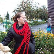 Аксессуары ручной работы. Ярмарка Мастеров - ручная работа Вязаный красный шарф. Handmade.