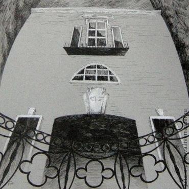 """Картины и панно ручной работы. Ярмарка Мастеров - ручная работа Картина """"Набережная"""" графика городской пейзаж в готическом стиле. Handmade."""