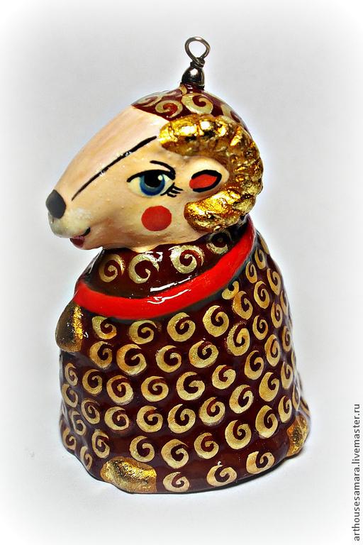 """Колокольчики ручной работы. Ярмарка Мастеров - ручная работа. Купить Керамический колокольчик """"Овечка"""". Handmade. Коричневый, сувенир овечка"""