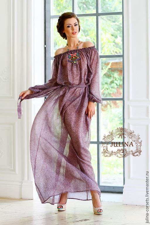 """Платья ручной работы. Ярмарка Мастеров - ручная работа. Купить Платье """"Вересковый Мед"""". Handmade. Брусничный, платье летнее, резинка"""