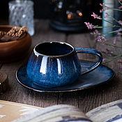 Посуда handmade. Livemaster - original item Vulkan 300 ml mug and saucer Jotunheim series