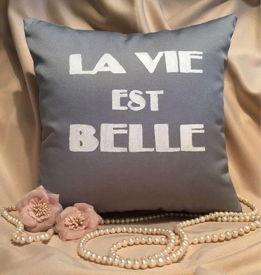 Текстиль, ковры ручной работы. Ярмарка Мастеров - ручная работа. Купить Подушка La vie est belle. Handmade. Комбинированный