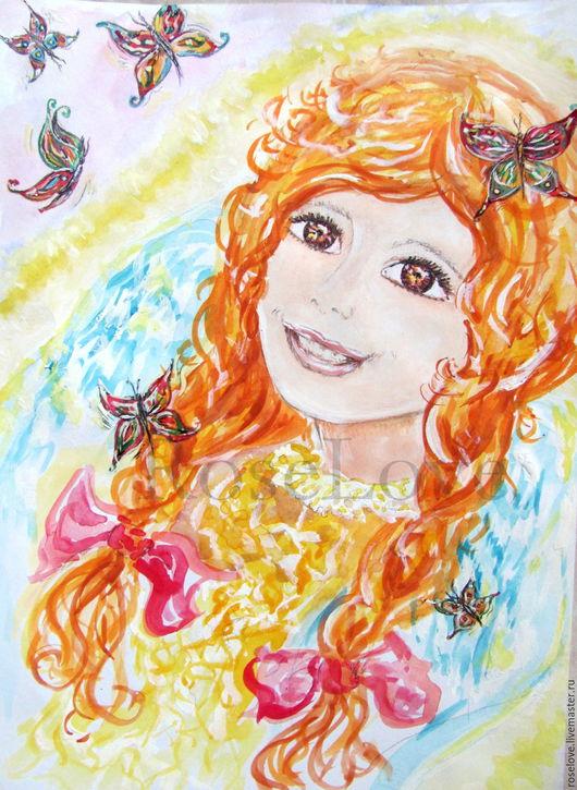 Картина для детской  `Лучезарный Ангел` Катерины Аксеновой. ___ картина с ангелом,картина с рыжей девочкой,картина в детскую,картина для детской,подарок девочке,солнечная картина,картина свет
