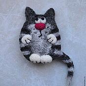 """Украшения ручной работы. Ярмарка Мастеров - ручная работа Валяная брошь """"Кот серый 2"""". Handmade."""