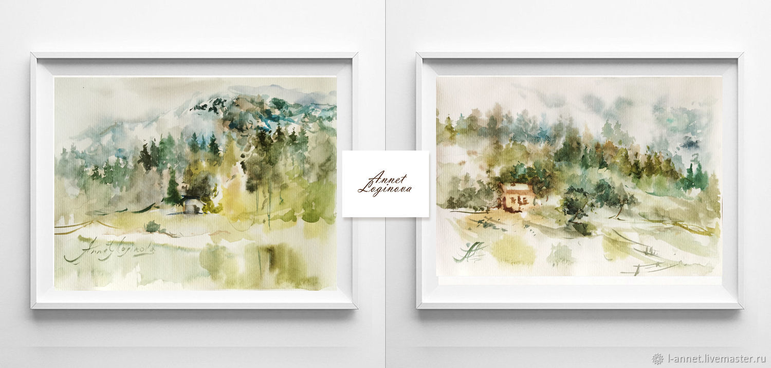 Watercolor diptych-a place in the mountains, Pictures, Moscow,  Фото №1