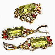 Украшения handmade. Livemaster - original item The set is 925 silver with lemon quartz and padparaja sapphires. Handmade.