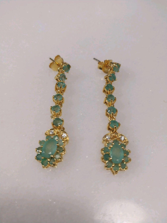 Silver earrings with emerald, Earrings, Novosibirsk,  Фото №1