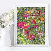 Картины и панно handmade. Livemaster - original item Painting for Interior Painting Mushrooms and berries Painting for Home. Handmade.