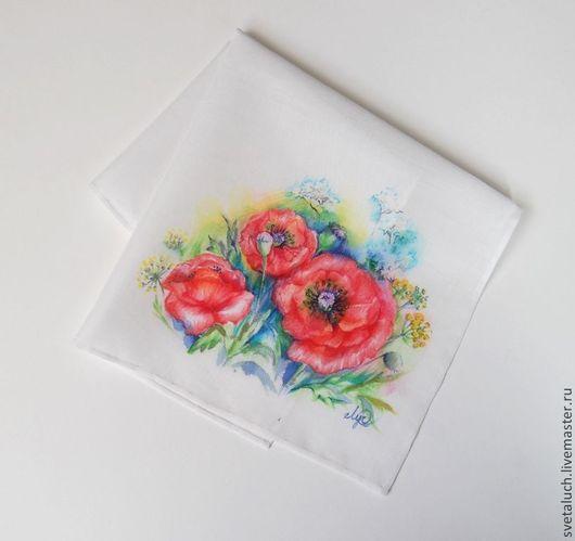 Носовые платочки ручной работы. Ярмарка Мастеров - ручная работа. Купить Как алые бабочки.... Handmade. Рисунок, батист, маки