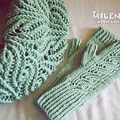 Аксессуары handmade. Livemaster - original item The set is knitted Pistachio, a scarf - a snud and mitts.. Handmade.